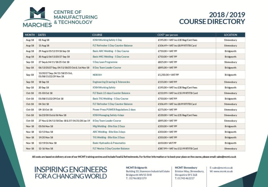 MCMT Courses 2018 / 2019